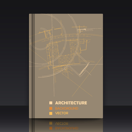 cover: Drawing of abstract architectural detail on flat surface. Image of colorful blueprint. illustration with mockup of title sheet or book cover for fields of technology, science and manuals. Illustration