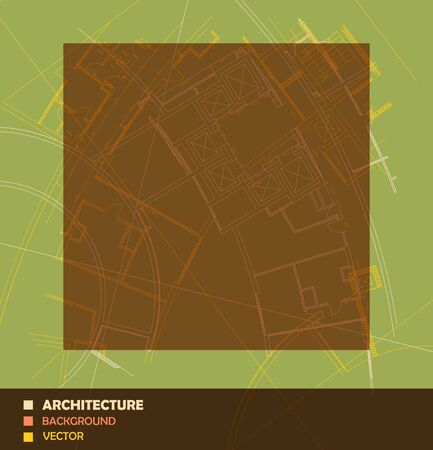 architecture detail: Drawing of abstract architectural detail on flat surface. Image of colorful blueprint for use as background for web and print. Draft plan of building. Minimalistic design, technology and architecture