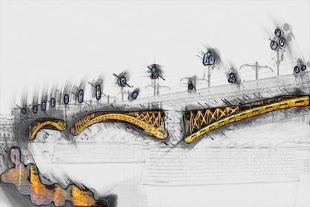 morning blue hour: Margit or Margaret Bridge (sometimes Margit Bridge) in Budapest, Hungary.  Painting of travel scene, pencil drawing outlines of background Stock Photo