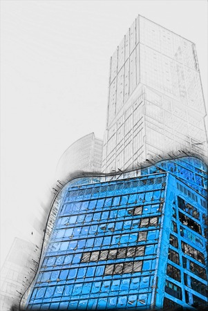 steel tower: modern office buildings.  Painting of travel scene, pencil drawing outlines of background Stock Photo