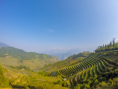 pa: Spectacular view of the  rice terraces in a village near Sa Pa town, Northern Vietnam. Stock Photo