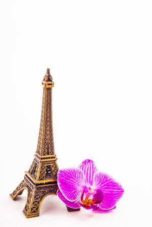 eiffel: Model of little Eiffel Tower with a pink flower isolated on white. Stock Photo