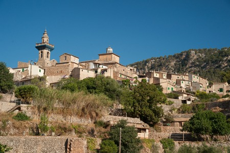 chopin: Beautiful view of the small town Valldemossa situated in picturesque mountains on Mallorca island, Spain.