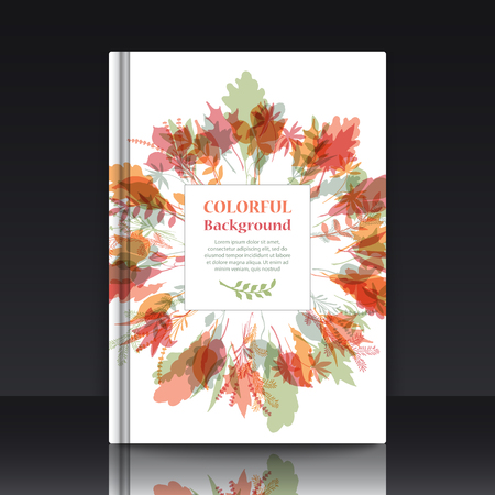 Autumnal round frame. Wreath of autumn leaves. Background with hand drawn leaves. EPS 10 vector illustration with mockup of title sheet or book cover. Can be used as background for web of applications