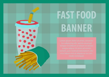 tubule: Fast food vector illustration with fries and cola. Design elements for print, web, and other uses. Colorful stylish fast food icon on colored background with place for text and caption. Illustration