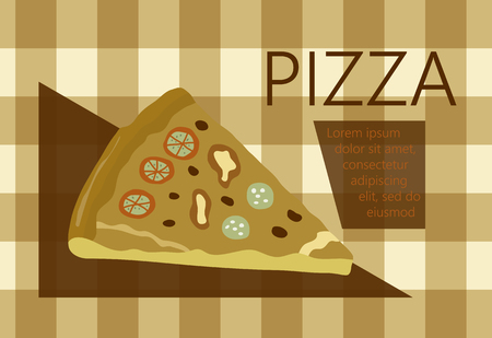 pizza place: Fast food vector illustration with pizza. Design elements for print, web, and other uses. Colorful stylish fast food icon on colored background with place for text and caption. Illustration