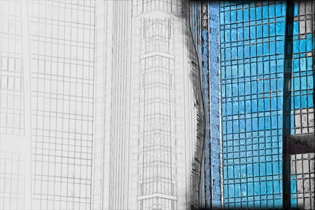transformed: digitally transformed photo of modern office building. Business background.
