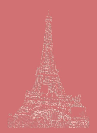 famous painting: Famous Eiffel tower rendered with engraving effects.  Colorful strokes form an image of travel destination sight in France. Painting of Eiffel tower.