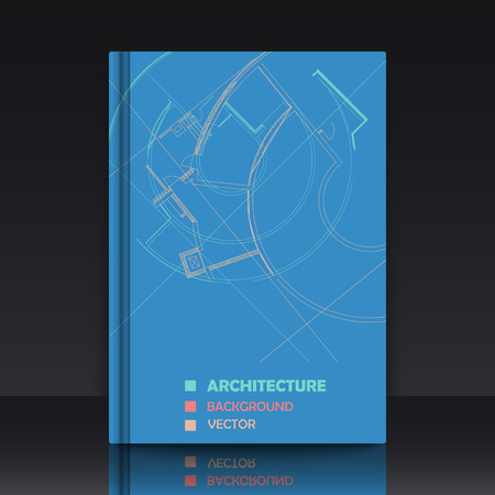 Drawing of abstract architectural detail on flat surface. Image of colorful blueprint. illustration with mockup of title sheet or book cover for fields of technology, science and manuals.  イラスト・ベクター素材