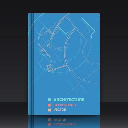 Tekening van abstracte architectonische details op een vlakke ondergrond. Afbeelding van kleurrijke blauwdruk. illustratie met mockup van titel sheet of cover van het boek voor velden van technologie, wetenschap en handleidingen.