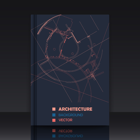 book cover: Drawing of abstract architectural detail on flat surface. Image of colorful blueprint. illustration with mockup of title sheet or book cover for fields of technology, science and manuals. Illustration