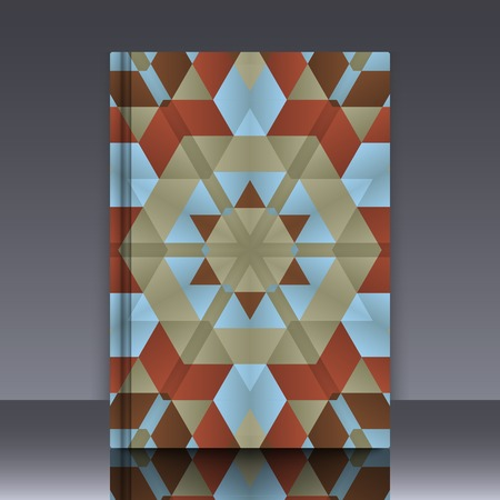 geometrical pattern: Book mockup with cover of colorful symmetrical background element with bold geometrical pattern. For wallpaper, pattern fills, web page background, surface textures for print and dalle production.