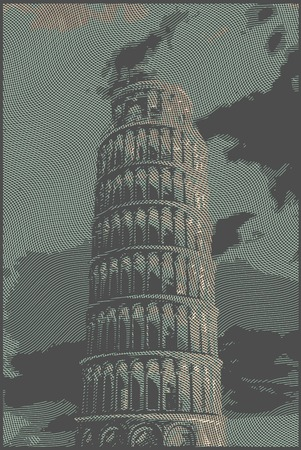unesco: Famous pisan tower rendered with engraving effects.  Colorful strokes form an image of travel destination sight in Italy. Painting of Pisa Tower.