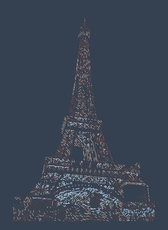 seine: Famous Eiffel tower rendered with engraving effects.  Colorful strokes form an image of travel destination sight in France. Painting of Eiffel tower.