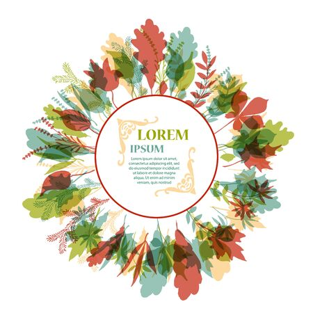hand pencil: Autumnal round frame. Wreath of autumn leaves. Background with hand drawn autumn leaves. Fall of the leaves. Sketch, design elements. Vector illustration.