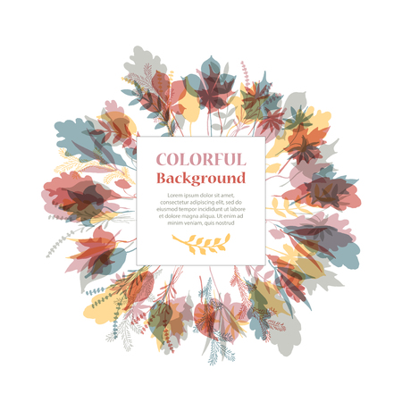 tree shape': Autumnal round frame. Wreath of autumn leaves. Background with hand drawn autumn leaves. Fall of the leaves. Sketch, design elements. Vector illustration.