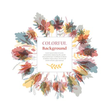 arbol roble: Marco redondo otoñal. Corona de hojas de otoño. Fondo con las hojas de otoño dibujadas a mano. Caída de las hojas. Sketch, elementos de diseño. Ilustración del vector.