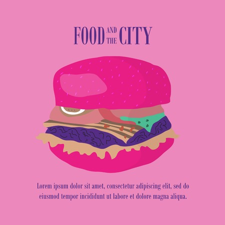 tubule: Fast food vector illustration with burger. Design elements for print, web, and other uses. Colorful stylish fast food icon on colored background with place for text and caption.