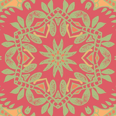 tiles floor: Symmetrical background element with bold geometrical patterns and stylized floral pattern. For wallpaper, pattern fills, web page background, surface textures for print and dalle production.