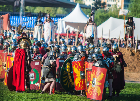 rebellion: MOSCOW - JUNE 06, 2015: Roman legion in historical reenactment of Boudicas rebellion of the first century AD. Times and Ages International Historical Festival in Kolomenskoye, Moscow.