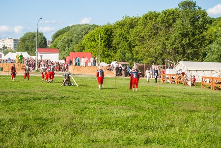 rebellion: MOSCOW - JUNE 06, 2015: Historical reenactment of Boudicas rebellion of the first century AD. Times and Ages International Historical Festival in Kolomenskoye, Moscow. Editorial