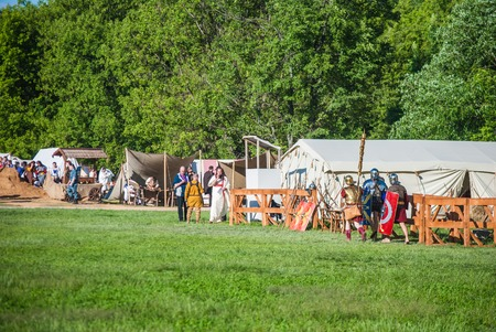 celts: MOSCOW - JUNE 06, 2015: Camp of Celts in historical reenactment of Boudicas rebellion of the first century AD. Times and Ages International Historical Festival in Kolomenskoye, Moscow.