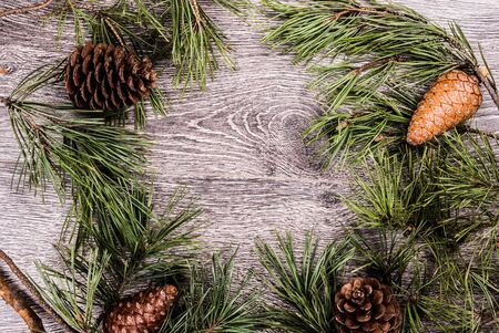 Christmas fir tree with cones on a wooden background, selective focus and place for text. Toned