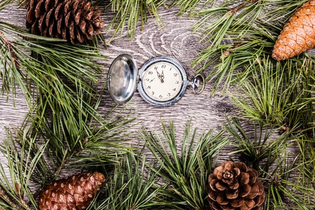 twelve month old: Christmas background with clock among fir tree, and cones. Image for banners, Advertising, and blogs.