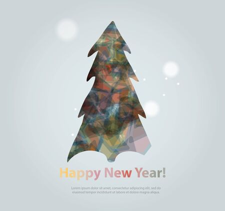 evergreen tree: Abstract christmas tree icon or logo concept. Silhouette of evergreen tree filled with colorful abstract pattern with added text and snowflakes.