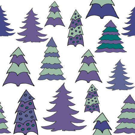 ap: Seamless pattern with christmas tree doodles. Hand drown background for witner holiday. Can be used as a background tile for blog, ap, or wrapping paper.