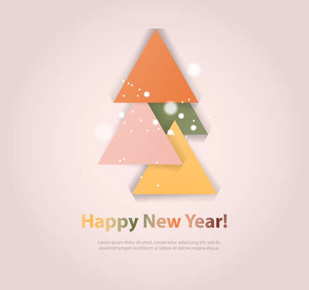 evergreen tree: Abstract christmas tree icon or logo concept. Silhouette of evergreen tree build with colorful abstract triangles with added text and snowflakes. Illustration