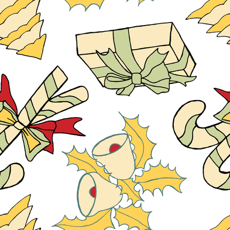 ap: Seamless pattern with christmas doodles. Hand drown background for witner holiday. Can be used as a background tile for blog, ap, or wrapping paper. Illustration