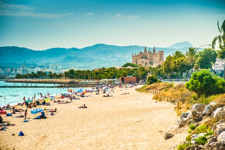 View of the beach of Palma de Mallorca with people lying on sand and the gorgeous cathedral building visible in background. Palma-de-Mallorca, Balearic islands, Spain. Фото со стока