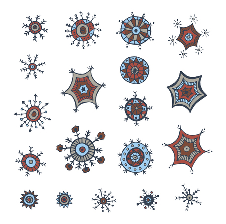 Hand drawn colorful snowflakes doodle. Tribal circular patterns. Abstract round design elements.