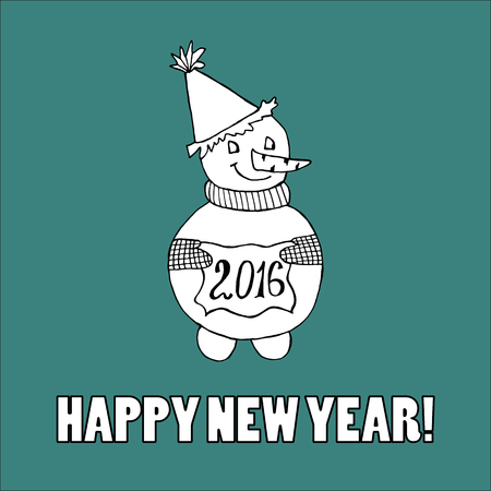 funny creature: Doodle for New Year. Hand drawn design element. Funny creature holding banner with 2016 digits for holiday project. Illustration
