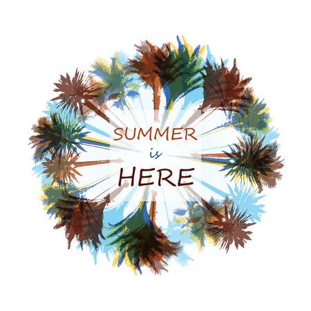topics: Colorful background with silhouette of palm trees on the beach. Tropical seasonal background for topics of travel, vacation and summer.