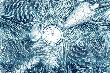 12 month old: Christmas background with clock among fir tree, and cones. Image for banners, Advertising, and blogs.