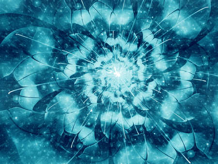 snowstorm: Fractal flower in snow-storm, frosty snowflake digital artwork for creative graphic design. Colorful texture with floral pattern. Digitally created artwork.