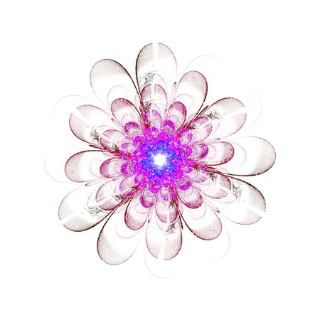 fantasy background: Fractal flower in snow-storm, frosty snowflake digital artwork for creative graphic design. Colorful texture with floral pattern. Digitally created artwork.