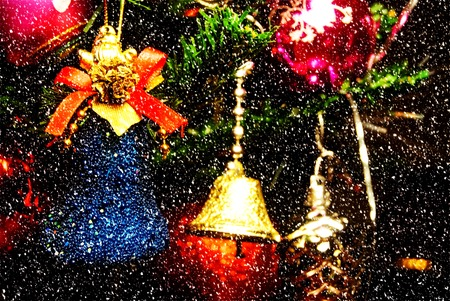 decorated tree: christmas bells near decorated tree