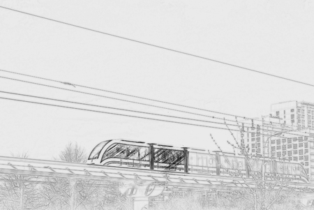 Elevated rapid transit system with the modern train running on rails against tower blocks in Moscow, Russia. Painting of travel scene, pencil drawing outlines of background