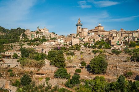 chopin: Beautiful view of the small town Valldemossa situated in  picturesque mountains on Mallorca island, Spain. Stock Photo