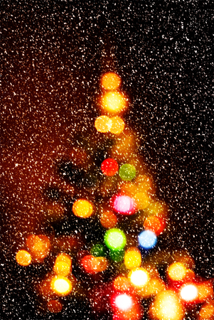 christmas tree ball: bokeh of christmas tree decoration Stock Photo