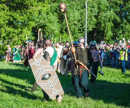 rebellion: MOSCOW - JUNE 06, 2015: Army of Celts in historical reenactment of Boudicas rebellion of the first century AD. Times and Ages International Historical Festival in Kolomenskoye, Moscow. Editorial