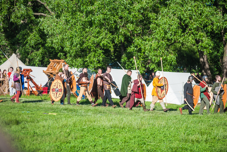 celt: MOSCOW - JUNE 06, 2015: Army of Celts in historical reenactment of Boudicas rebellion of the first century AD. Times and Ages International Historical Festival in Kolomenskoye, Moscow. Editorial