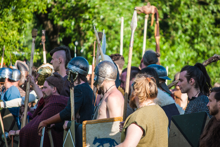 celts: MOSCOW - JUNE 06, 2015: Army of Celts in historical reenactment of Boudicas rebellion of the first century AD. Times and Ages International Historical Festival in Kolomenskoye, Moscow. Editorial