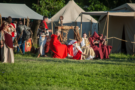 MOSCOW - JUNE 06, 2015: Historical reenactment of Boudicas rebellion of the first century AD. Times and Ages International Historical Festival in Kolomenskoye, Moscow. Editorial