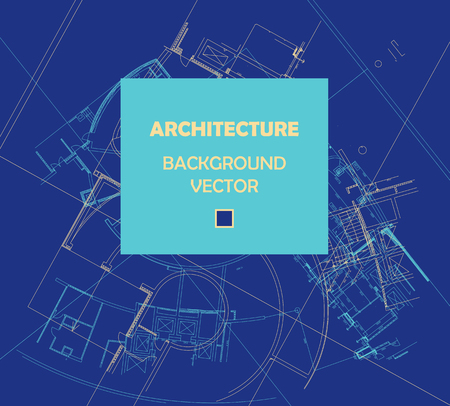 architecture detail: Drawing of abstract architectural detail on flat surface. Image of colorful blueprint for use as background for web and print. Template for cover or banner with draft plan of a building.