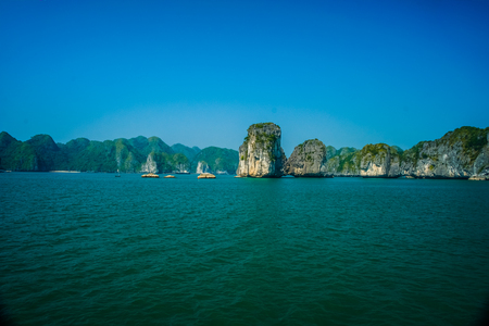 the bay: Beautiful view on limestone rocks of Ha Long Bay, one of the main travel destinations in Vietnam