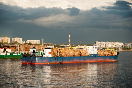 tonnage: Large container vessel in Neva river in Saint-Petersburg, Russia.